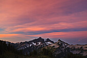 'Sunrise Over Tatoosh Mountains In Paradise Park In Mt. Rainier National Park; Washington, United States Of America'
