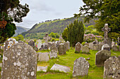 'Tombstones In A Cemetery On A 6Th Century Monastic Site; Glendalough, County Wicklow, Ireland'