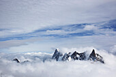 'Mountain Peaks Above The Clouds; Chamonix, France'