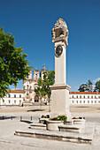 'Monument To Manuel Vieira Natividade With 12Th Century Cistercian Monastery Of Santa Maria In The Background; Alcobaca, Estremadura And Ribatejo, Portugal'