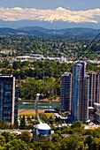 'Ohsu Tram And Mount Hood; Portland, Oregon, United States Of America'