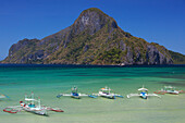 'Traditional Bangka Boats In The Bay Near El Nido; Bacuit Archipelago, Palawan, Philippines'