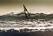 'Windsurfing; Los Lances Beach, Tarifa, Cadiz, Andalucia, Spain'