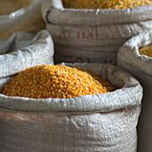 'Bags Of Grain For The Market; Cusco Peru'