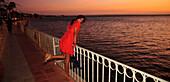 'Woman In National Marine Park At Sunset; Espiritu Santos Island Baja California Mexico'