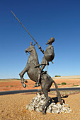 'Don Quijote Statue In Middle Of Traffic Roundabout; Cuenca Province, Castile-La Mancha, Spain'