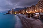 'Buildings Illuminated Along The Coast At Night; Camogli, Liguria, Italy'