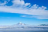 Mount Rainier And Foggy Valleys, Mount Adams Wilderness, Washington, Usa