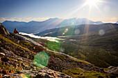 'Kananaskis Alberta Canada; Man Sitting Overlooking A Valley'