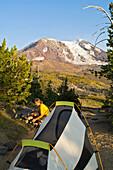 'Mt Adams Wilderness, Washington State, Usa; Camper And Mt Adams'