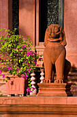 'A Lion Statue At Wat Ounalom The Most Important Wat Of Phnom Penh; Phnom Penh, Cambodia'