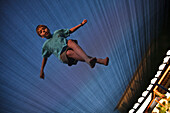 'Low Angle Of Boy On Trampoline; Ferndale, Washington, United States of America'
