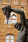 'Statue Of Perseus Holding The Head Of Medusa Beside The Palazzo Vecchio; Florence, Tuscany, Italy'