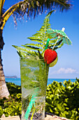 A Tropical Cocktail Garnished With Fruit And Green Fern Leaves In An Outdoor Setting.