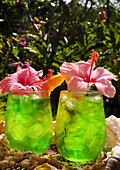 Two Tropical Drinks Garnished With Flowers In An Outdoor Setting.