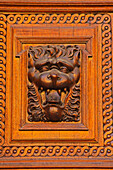 'Details Of A Wooden Door On The Old Town Hall In Stare Mesto; Prague, Hlavni Mesto Praha, Czech Republic'