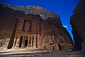 'The Treasury At Night In The Nabatean City; Petra, Jordan'
