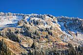 'Fresh Snow On Autumn Colours In Mount Rainier National Park; Washington, United States of America'