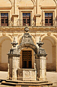 'Baroque Stone Well With Coat Of Arms Of St. James In Courtyard Of The Monastery Of Ucles; Cuenca, Castile La Mancha, Spain'