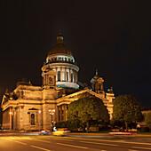 'Saint Isaac's Cathedral Illuminated At Night; St. Petersburg, Russia'