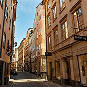 'Buildings Along A Narrow Street In Old Town; Stockholm, Sweden'