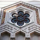 'Flower Design In Blue Glass On Great Synagogue Of Stockholm; Stockholm, Sweden'