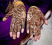 'Mehndi Covering The Hands; Ludhiana, Punjab, India'