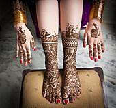 'Mehndi On The Hands And Feet; Ludhiana, Punjab, India'