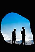 'Participant's Silhouettes At A Cave Rescue; Blairmore, Alberta, Canada'