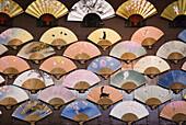 'Japanese fans displayed on a street market;Kyoto japan'