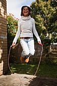 'A woman jumping rope;Gold coast queensland australia'