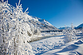 Snow Covered Landscape Along The East Fork Of The Six Mile Creek On The Kenai Peninsula In The Chugach National Forest. Kenai Mountains In The Background, Winter, Southcentral Alaska