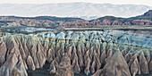 'Rock formations with peaks;Goreme nevsehir turkey'