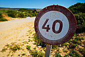 'A round sign as a road marker 40;Andalusia spain'