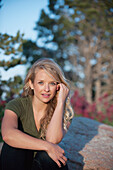 'Portrait of a woman with long blond hair;Arvada colorado united states of america'
