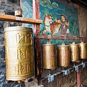 'Round bronze objects at the sera monastery;Lhasa xizang china'