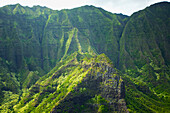 'Rugged landscape of mountains covered in trees;Hawaii united states of america'