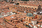 'High angle view from the towers of bologna with a view of a cathedral's dome roof;Bologna emilia-romagna italy'