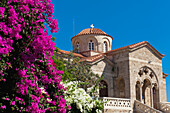 'A church building with bright pink flowers in the foreground;Paphos, cyprus'