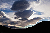 'Wind sculpted cumulus clouds in sky above divide mountain and toklat river, denali national park;Alaska, united states of america'