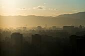 'Smog over the city of Beijing;Beijing China'