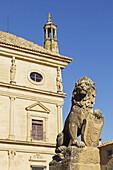 'Stone lion in front of palacio de las cadenas;Ubeda jaen province andalusia spain'