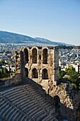 'Odeon of herodes atticus with view of athens;Athens greece'