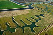 Agriculture - Aerial view of farmland, both cultivated and fallow, and river channels in the Sacramento-San Joaquin River Delta / near Lodi, California, USA.
