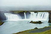 'Godafoss Waterfall In The Rain, Waterfalls Of The Gods; Fossholl, Myvatn, Iceland'