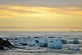 'Glacial Lagoon At Sunset; Jokulsarlon, Austur-Skaftrafellssysla, Iceland'