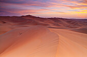 'Sunset Over The Sand Dunes; Liwa Oasis, Abu Dhabi, United Arab Emirates'