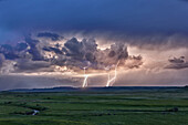 'Storm with lightning over the Frenchman River Valley, Grasslands National Park; Saskatchewan, Canada'