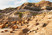 'Colourful badlands formations; Drumheller, Alberta, Canada'