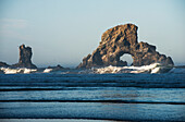'A large natural arch is found at Ecola State Park; Oregon, United States of America'
